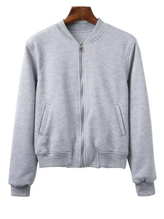 sale Zip Up Fitting Stand Neck Long Sleeve Jacket - GRAY M