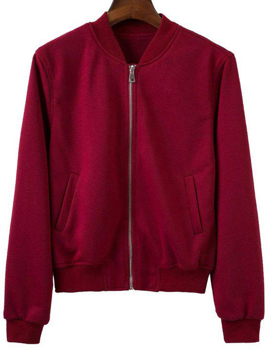 Zip Up Stand Fitting cou à manches longues Veste - Rouge vineux  M