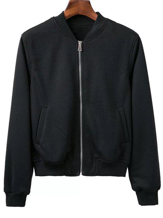ladies Zip Up Fitting Stand Neck Long Sleeve Jacket - BLACK M