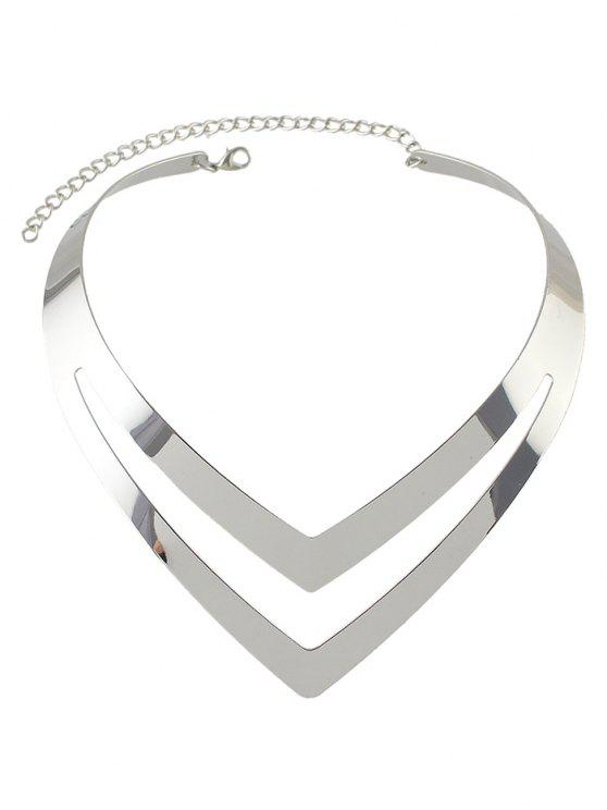trendy Hollow Out V Shape Necklace - SILVER