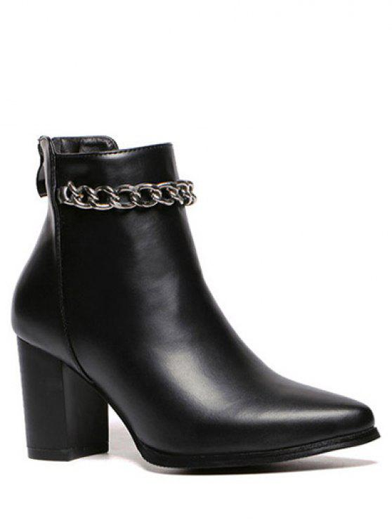 Pointu Toe Chains talon Chunky Bottes Bottines - Noir 37