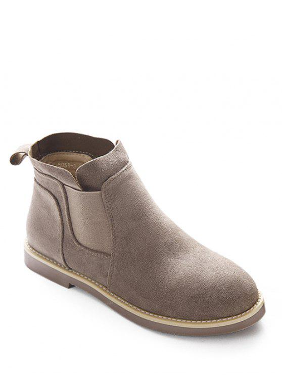 women Flat Heel Elastic Band Suede Ankle Boots - CAMEL 39