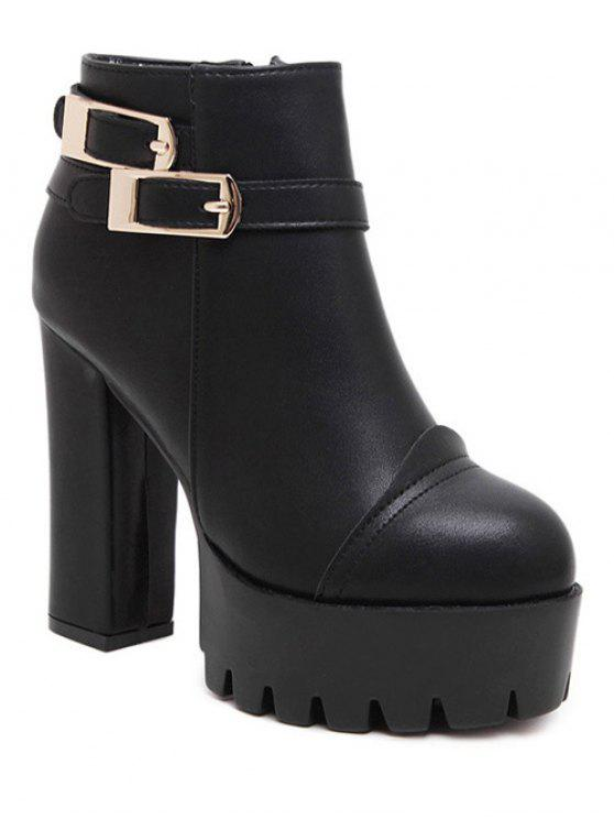 best Chunky Heel Platform Double Buckles Ankle Boots - BLACK 37