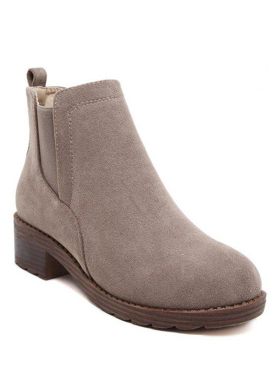 latest Flock Round Toe Elastic Band Ankle Boots - CAMEL 38