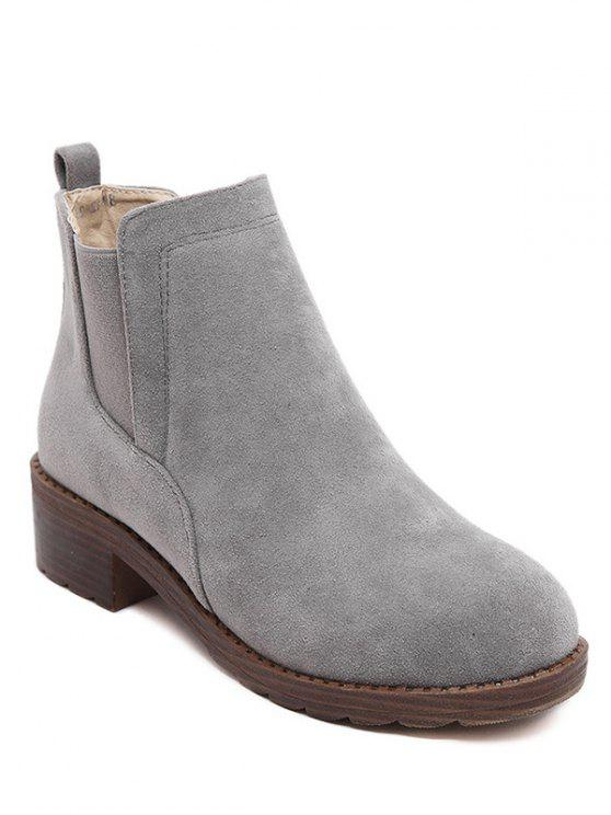 chic Flock Round Toe Elastic Band Ankle Boots - GRAY 38