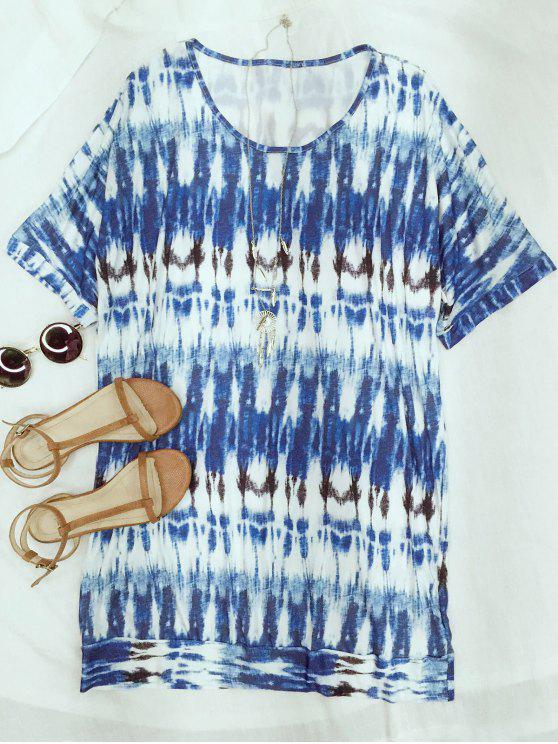 Vestir de manga corta floja teñido anudada con cuello redondo - Azul Claro S