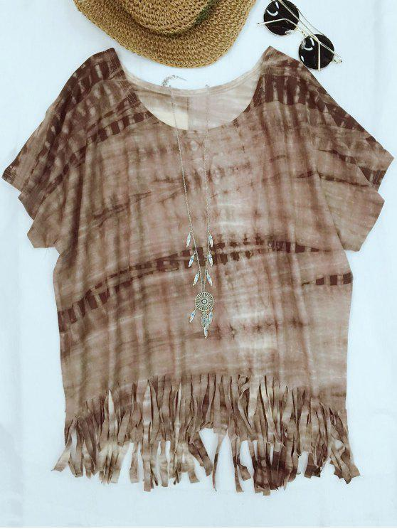 outfit Tie-Dyed Round Neck Batwing Sleeve Tassels T-Shirt - COFFEE S