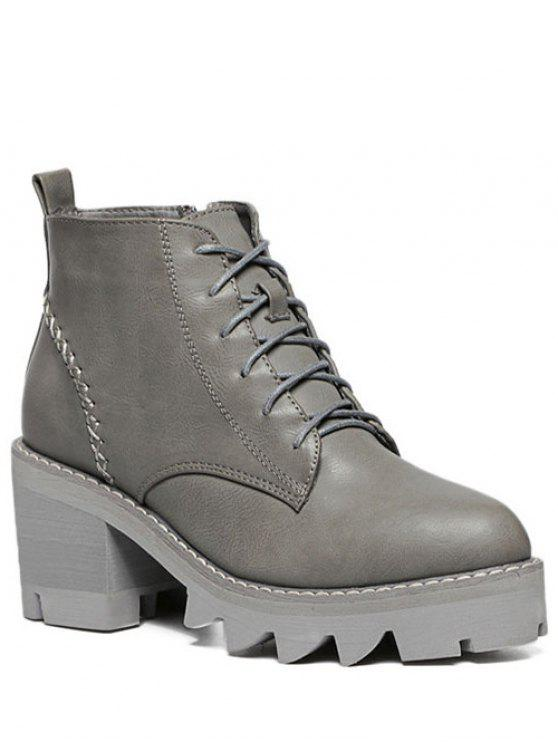 ladies Stitching Platform Tie Up Ankle Boots - GRAY 38