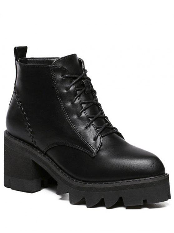 lady Stitching Platform Tie Up Ankle Boots - BLACK 39