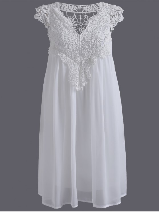 unique Plus Size Lace Chiffon Dress - WHITE 5XL