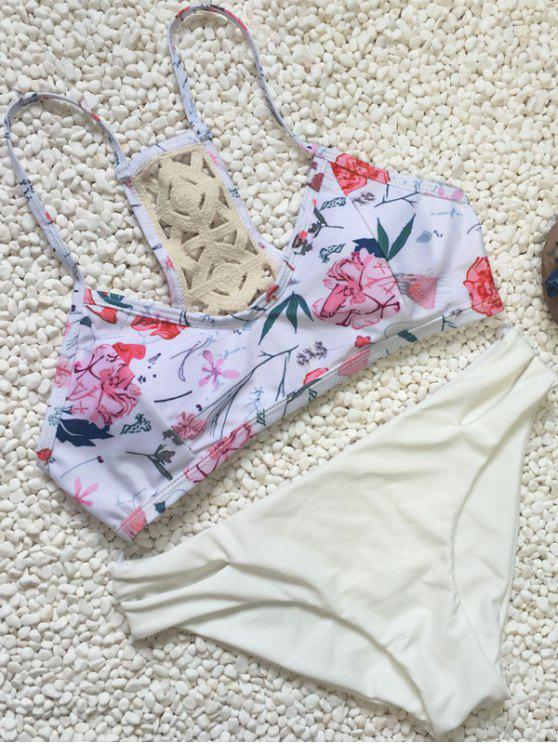 hot Crochet Back Floral Bikini Set - WHITE L