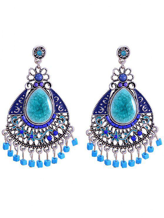 Boucles d'oreilles florales bijoux bohémiens décorées de fausse pierre - Bleu
