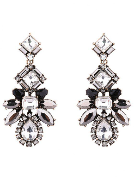 fashion Artificial Crystal Water Drop Geometric Earrings - BLACK
