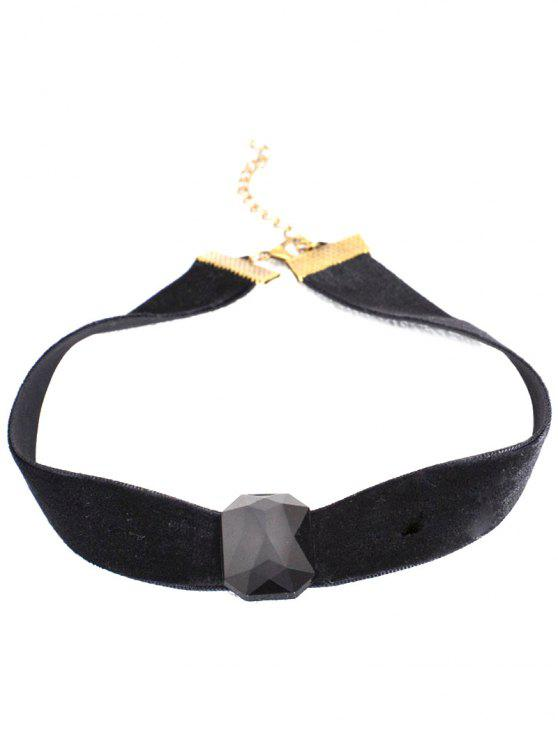affordable Geo Velvet Choker - BLACK
