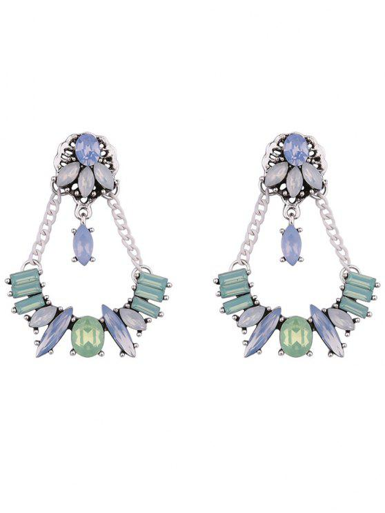 fancy Faux Crystal Geometric Chains Earrings - WHITE