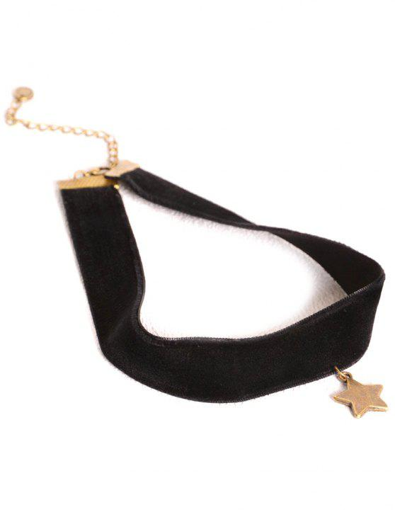 womens Star Velvet Choker - BLACK