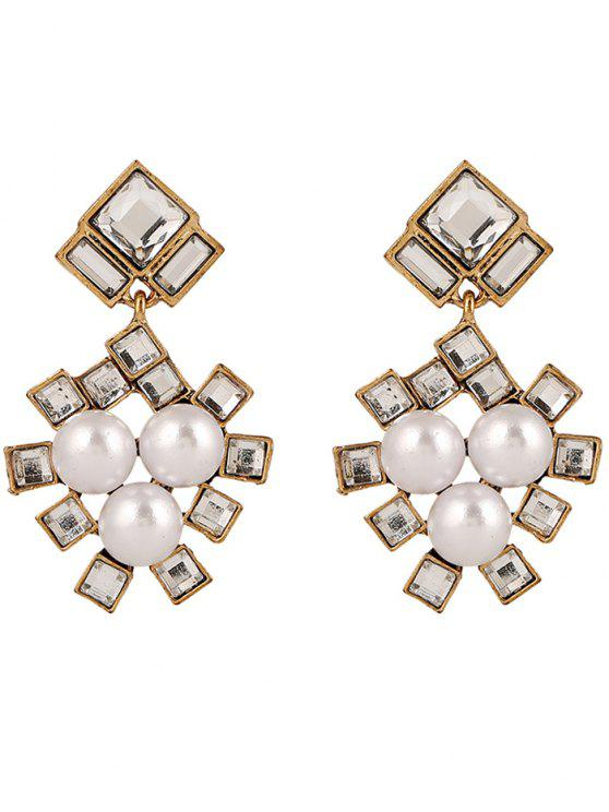 buy Faux Pearl Square Wedding Earrings Jewelry - YELLOW
