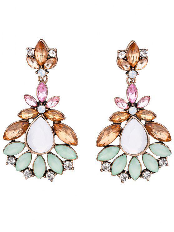 womens Faux Gem Water Drop Leaf Earrings - COLORMIX