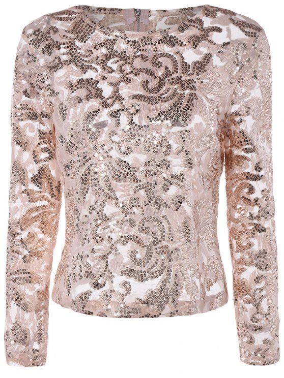 new See-Through Sequined Jewel Neck Long Sleeve Blouse - PINK S