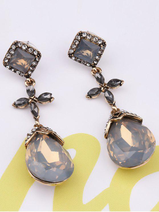 best Rhinestone Geometric Cross Water Drop Earrings - YELLOW