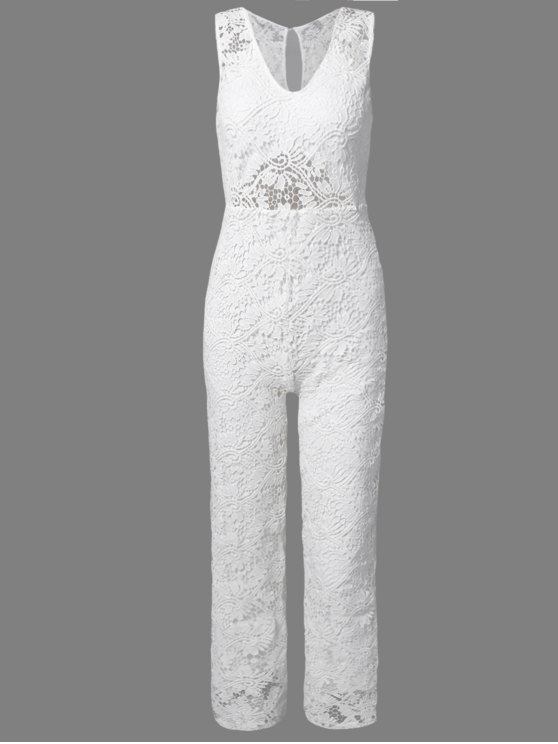 fashion Solid Color Plunging Neck Sleeveless Lace Jumpsuit - WHITE L