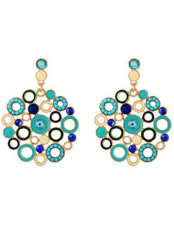 new Alloy Rhinestone Circle Drop Earrings - BLUE