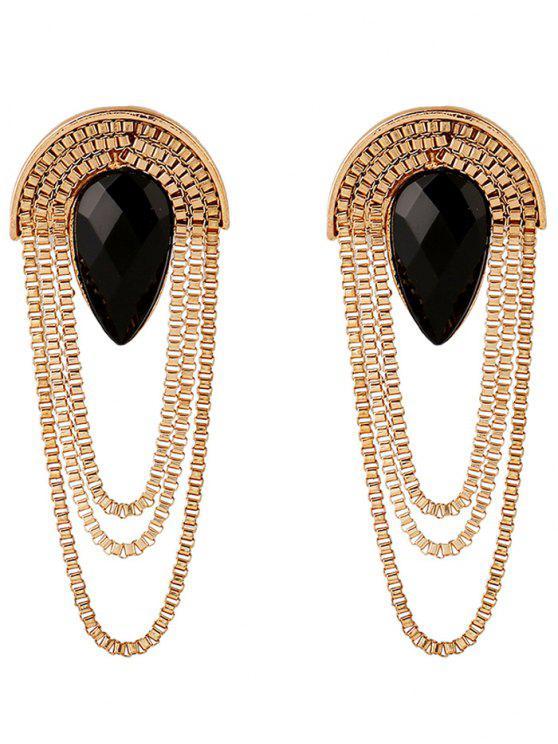Boucles d'oreilles frangées de chaînes avec décoration de gemmes fausses - Noir