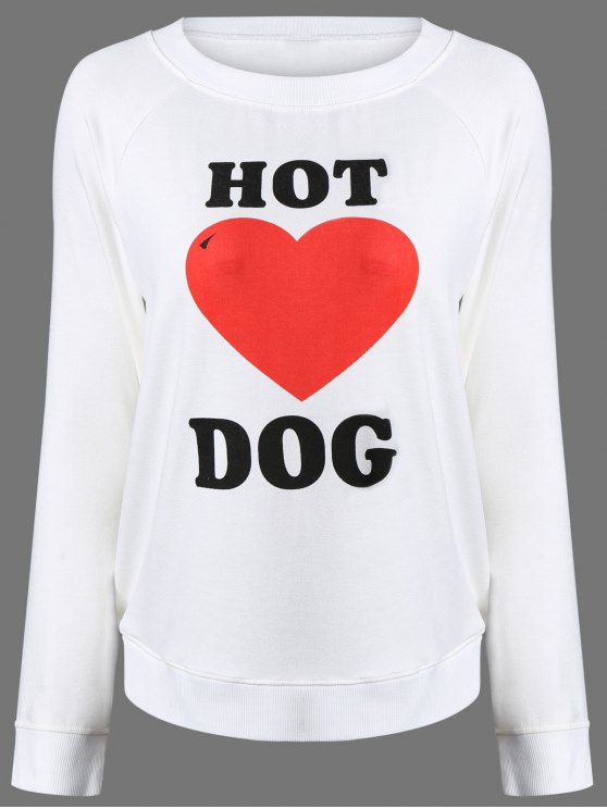 hot Heart Print Raglan Sleeve Sweatshirt - WHITE XL