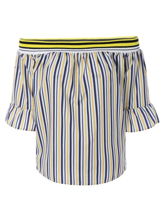 Manga de la llamarada del hombro flojo blusa ray - Amarillo S