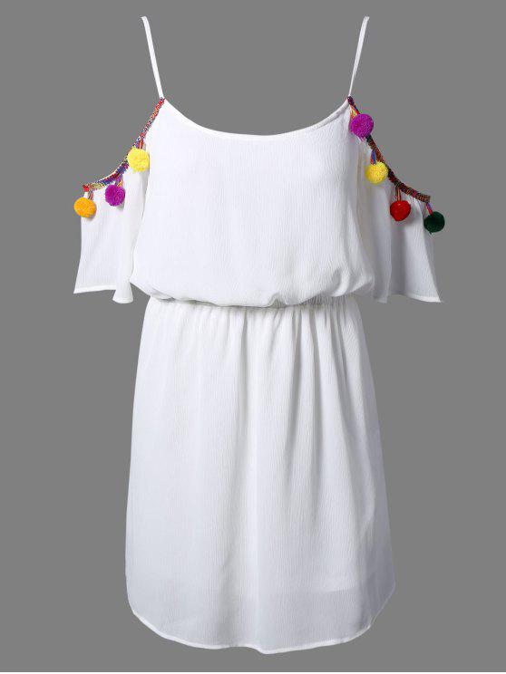 latest White Cami 3/4 Sleeve A Line Dress - WHITE 2XL
