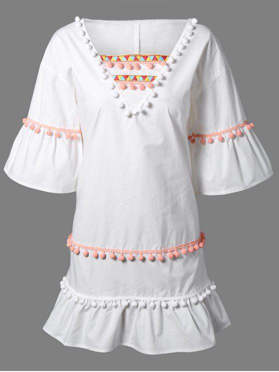 women Pom Pom Embroidery V Neck 3/4 Sleeve Dress - WHITE 2XL