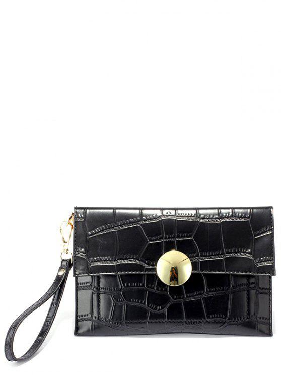 lady Metal Crocodile Embossed Clutch Bag - BLACK