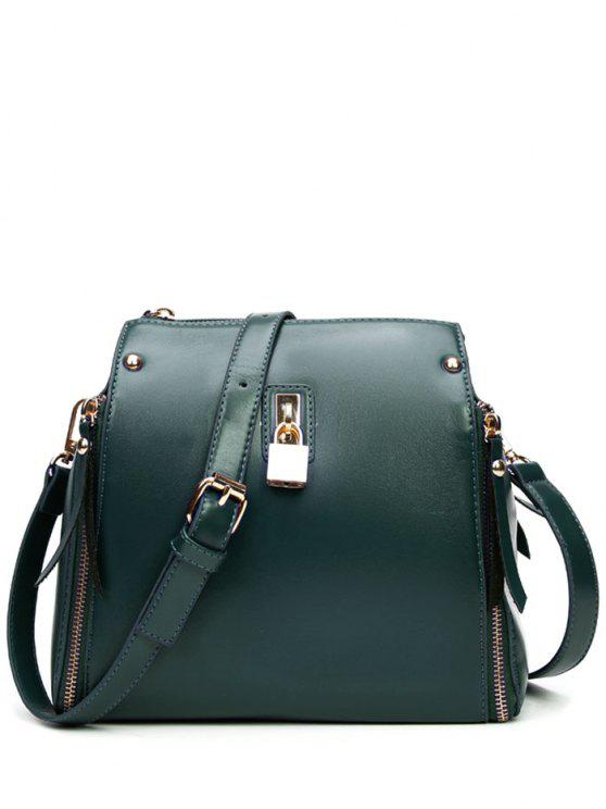 unique Lock Chains Zipper Crossbody Bag - BLACKISH GREEN