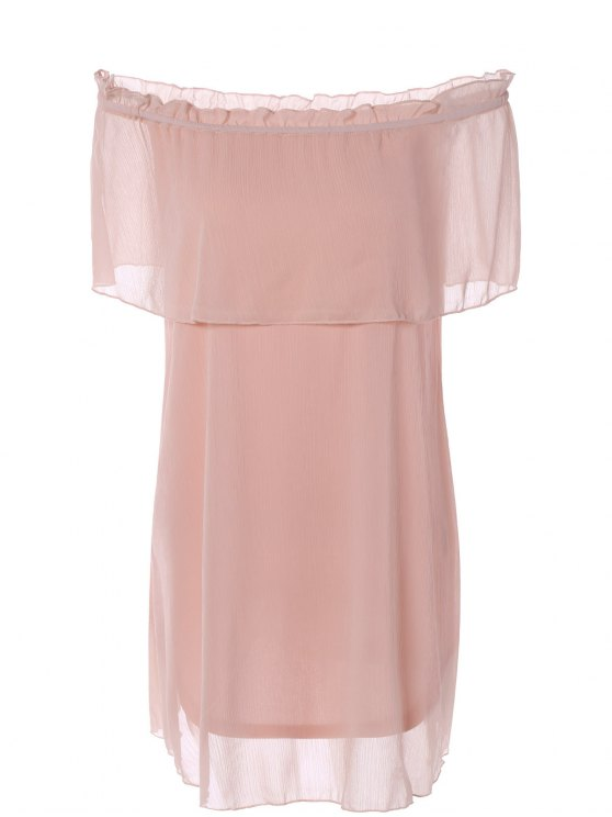 Flounce Ruffles Off The Shoulder vestido de chiffon - Rosa XL