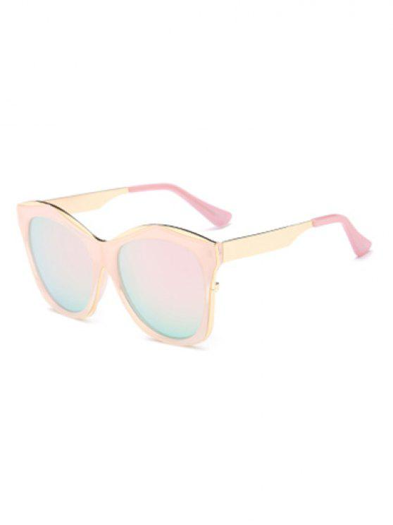 online Double Rims Mirrored Irregular Sunglasses - PINK