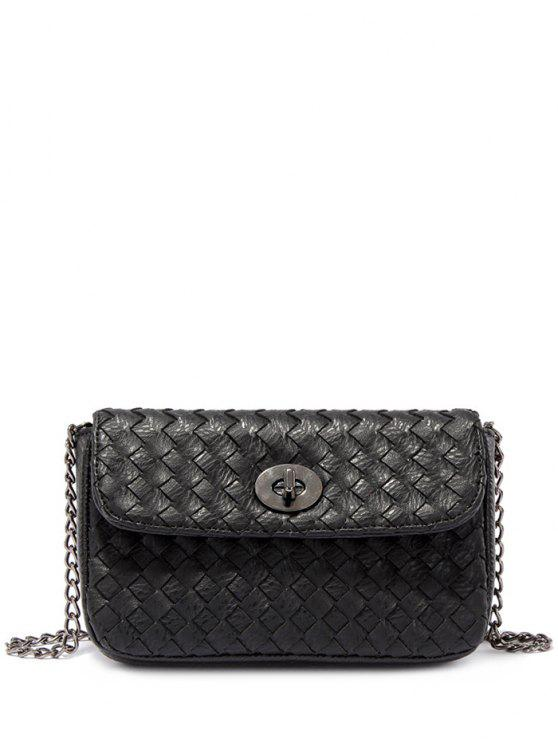 fancy PU Leather Chains Woven Crossbody Bag - BLACK