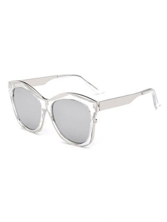 Llantas dobles con espejo gafas de sol irregulares - Plata