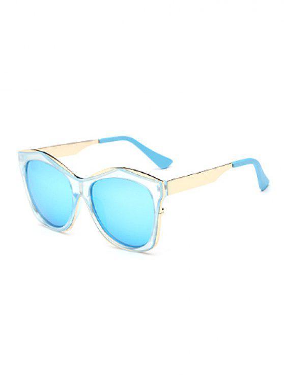 Llantas dobles con espejo gafas de sol irregulares - Azul Claro