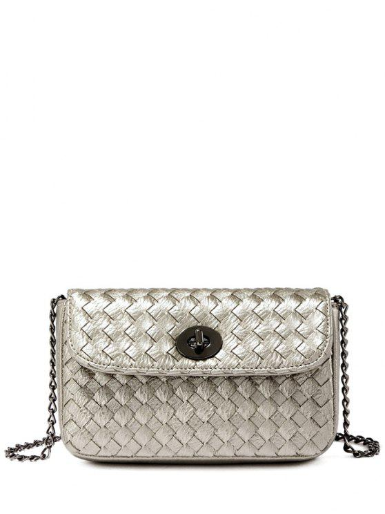 sale PU Leather Chains Woven Crossbody Bag - SILVER GRAY