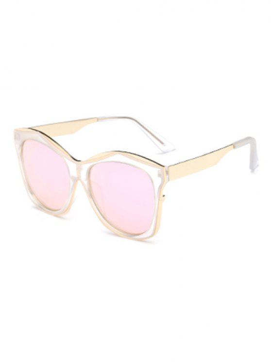 outfit Double Rims Mirrored Irregular Sunglasses - SHALLOW PINK