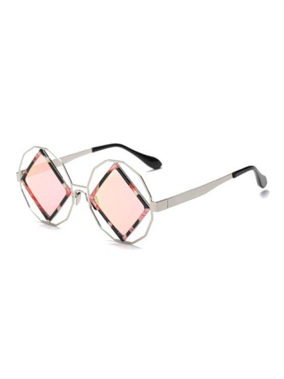 Rhombus Mirrored Irregular Sunglasses - Pink
