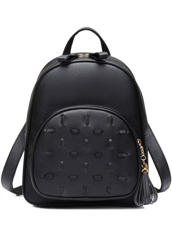 shop Tassels PU Leather Zip Backpack - BLACK