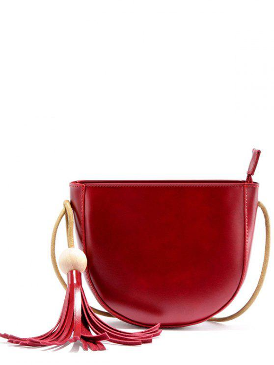 حقيبة كروسبودي شرابة - نبيذ أحمر