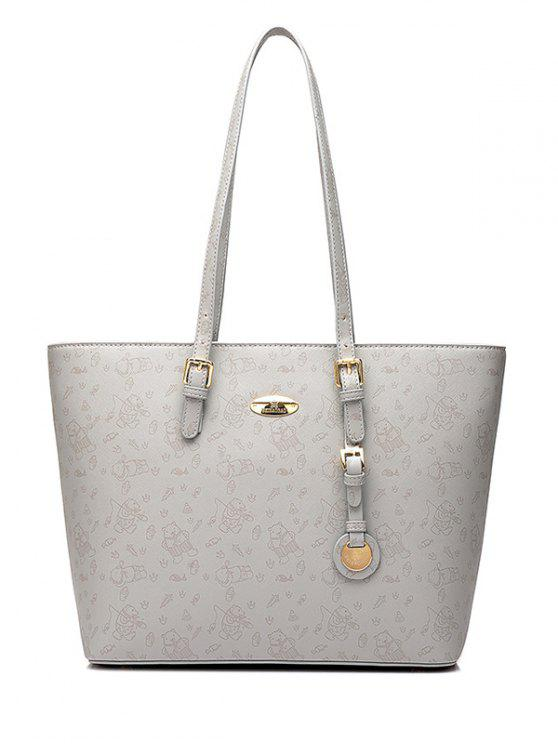 hot Print Buckles Metal Shoulder Bag - LIGHT GRAY