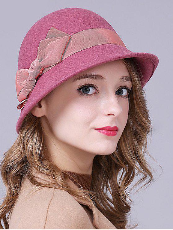 trendy Bow Band Felt Bucket Hat - ROSE RED