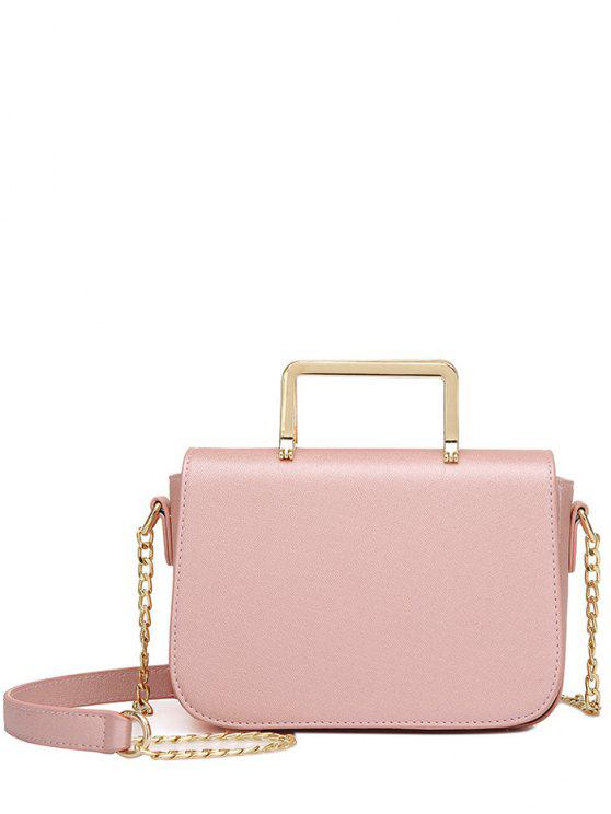 women Magnetic Closure Metal Chain Crossbody Bag - LIGHT PINK