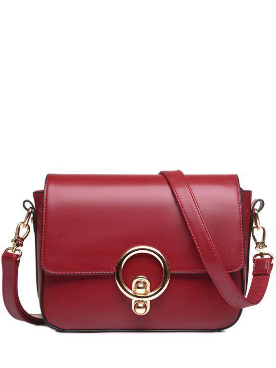 ladies PU Leather Stitching Metal Ring Crossbody Bag - WINE RED