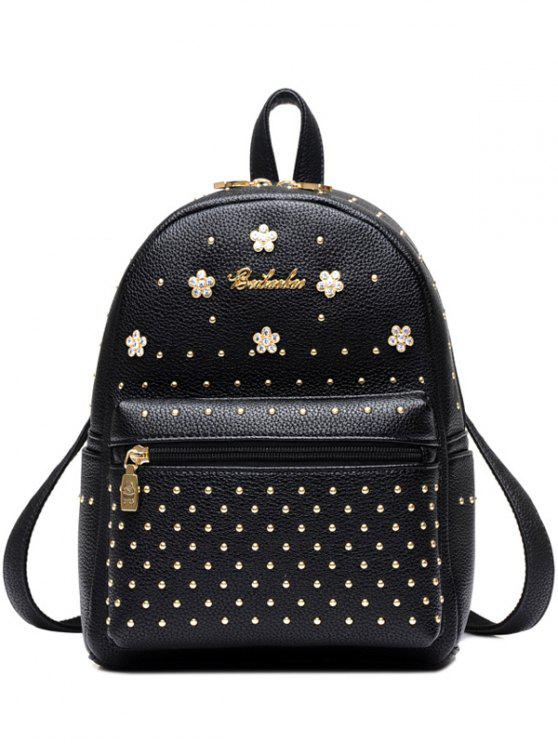 fancy Flowers PU Leather Rivets Backpack - BLACK
