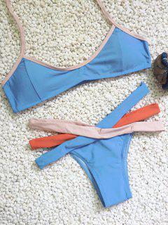 Tricolor Banded Bikini Set - Blue L