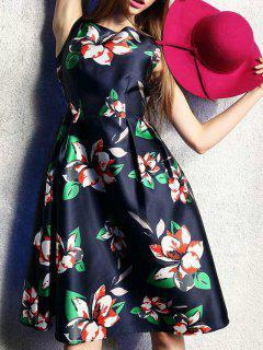 Pleated Flared Midi Dress - Deep Blue S
